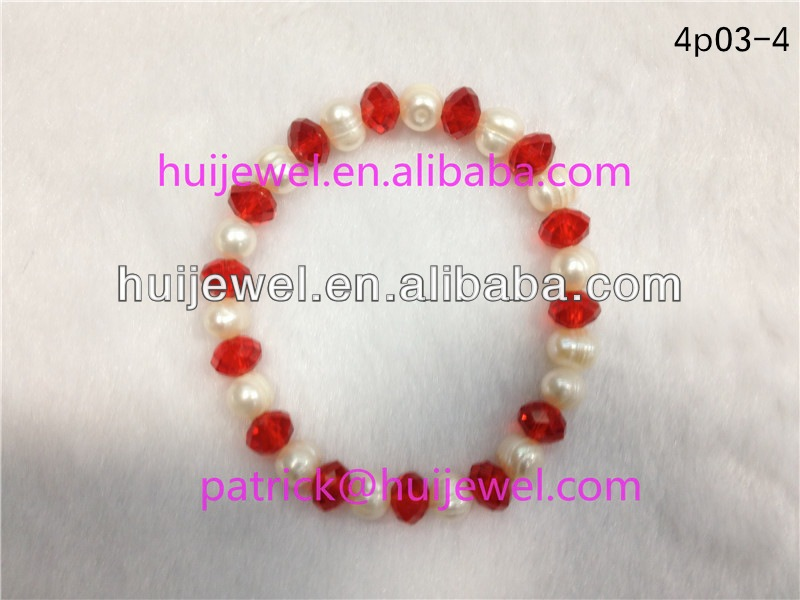 custom pearl bracelets bulk with red crystal
