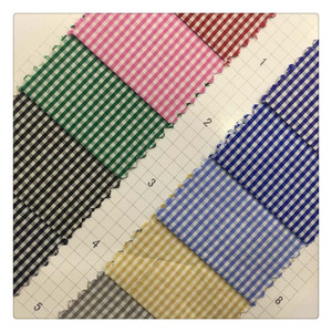 Twill Plain Check Shirt Apparel 100% Polyester Yarn Dyed Checkerboard small check fabric for cloth garment home textile