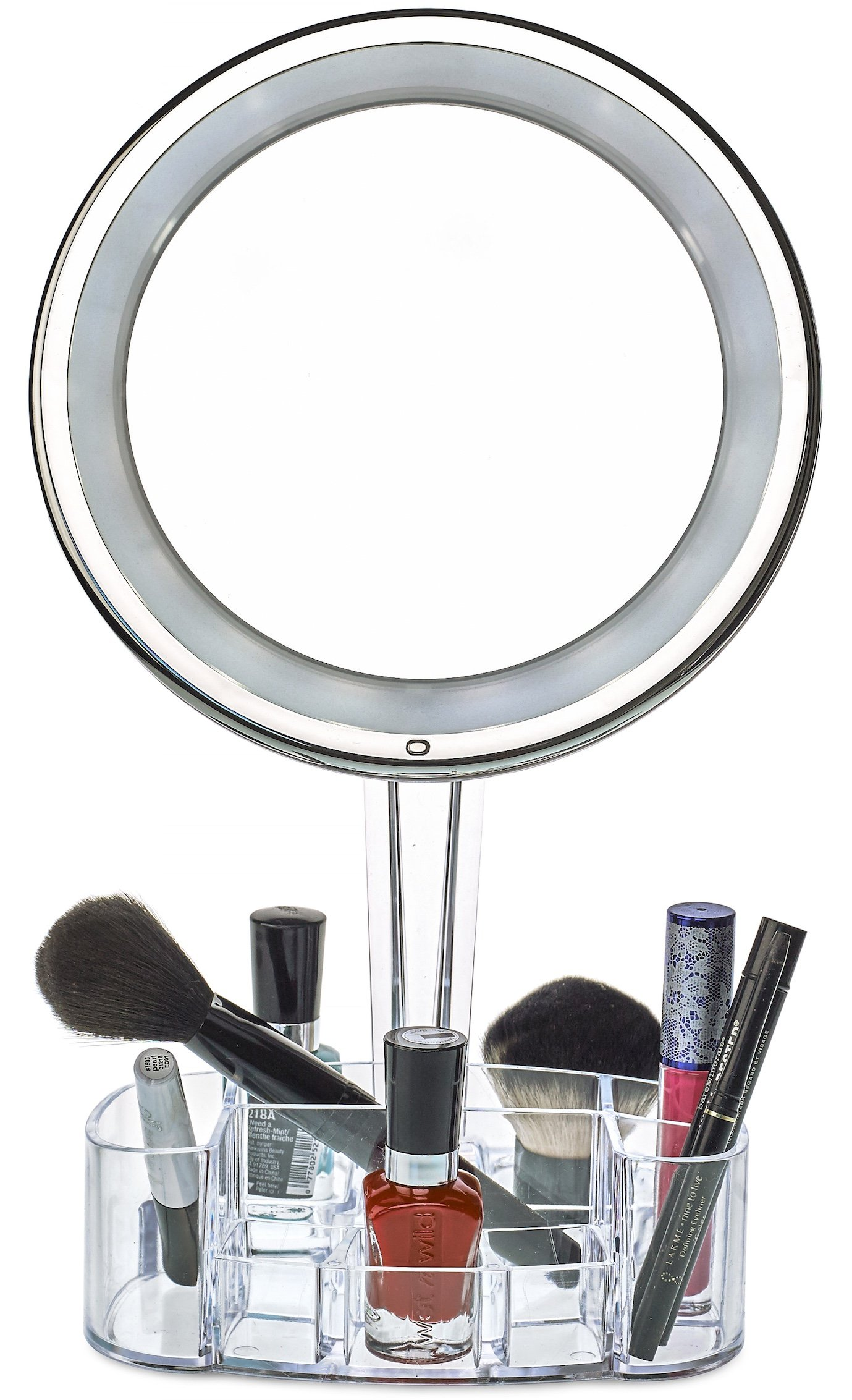 Get Quotations Daisi Magnifying Lighted Makeup Mirror With Cosmetic Organizer Base 7x Magnification Led Free