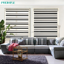100% blackout window decoration black and white and grey striped roller blind