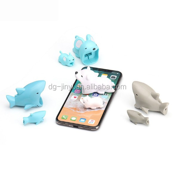 Cartoon PVC  usb cable bite protetor for phone data line protector set