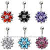 Stainless Rhinestone Flower CZ Belly Navel Button Bar Ring Piercing BER-007