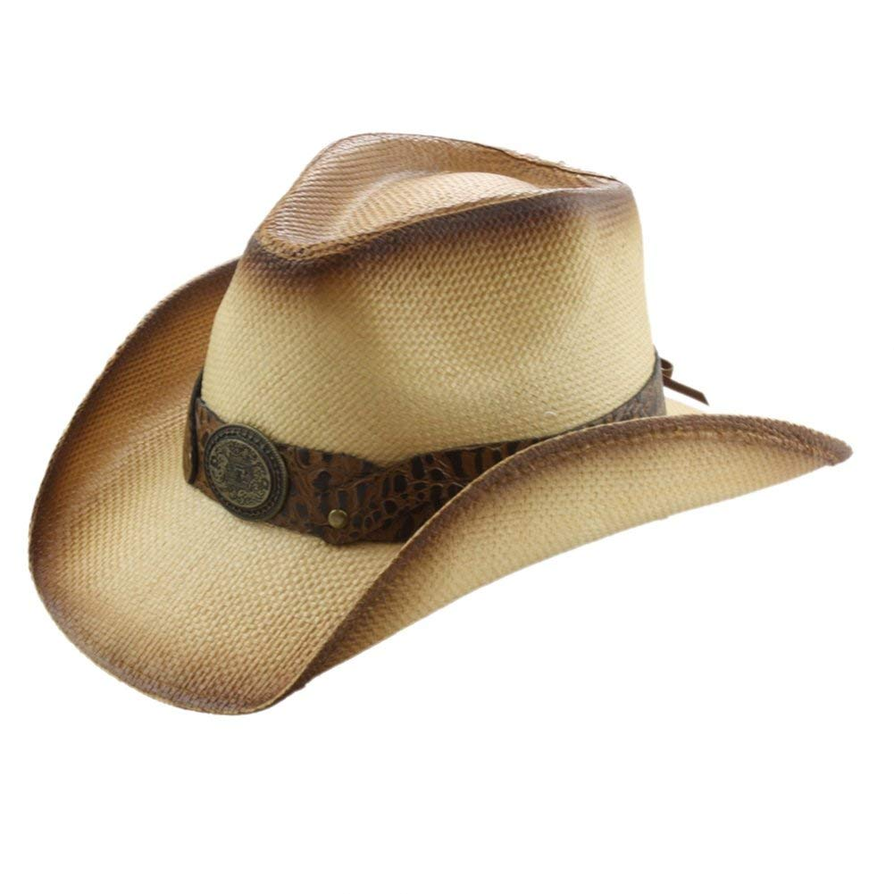 2c0cf2b18d140 Get Quotations · Country Straw Shapeable Cowboy Hat w  Medallion Band OS  Tea Stain
