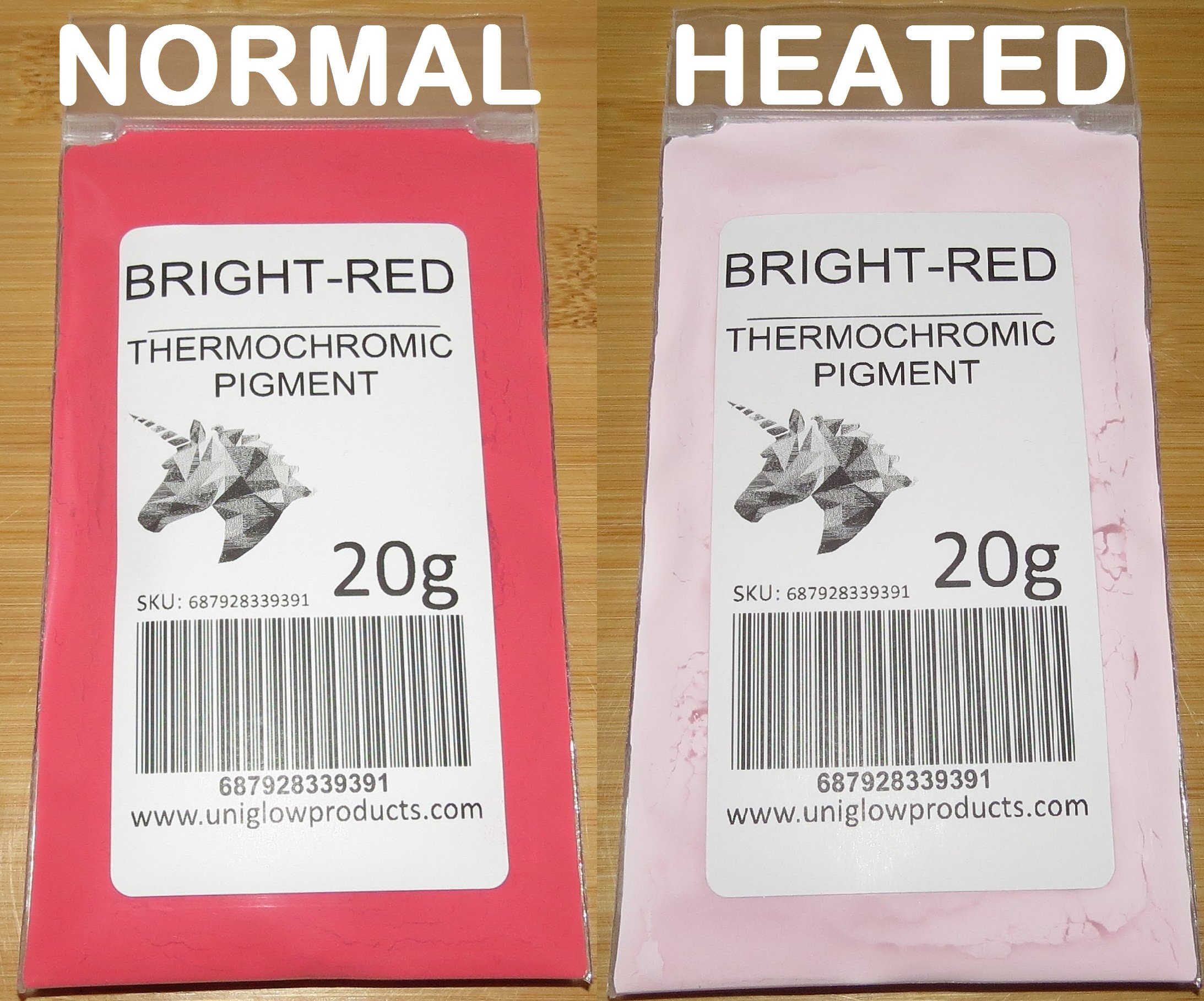 20g of Thermochromic Temperature Activated Pigment - Bright Red. Multiple Colors - Heat Sensitive Color Changing Powder for Paint, Nail Polish, Ink, Screen Printing, Fabric Art, Ceramics, and More.