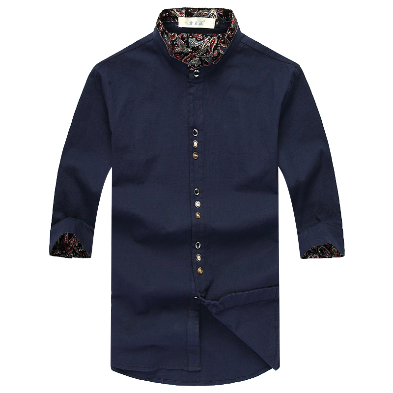 32dc811e7ab7 2015 New Plus Size Clothing Half sleeve Shirt Men Fluid Male Fifth Sleeve  Linen Mens Shirts