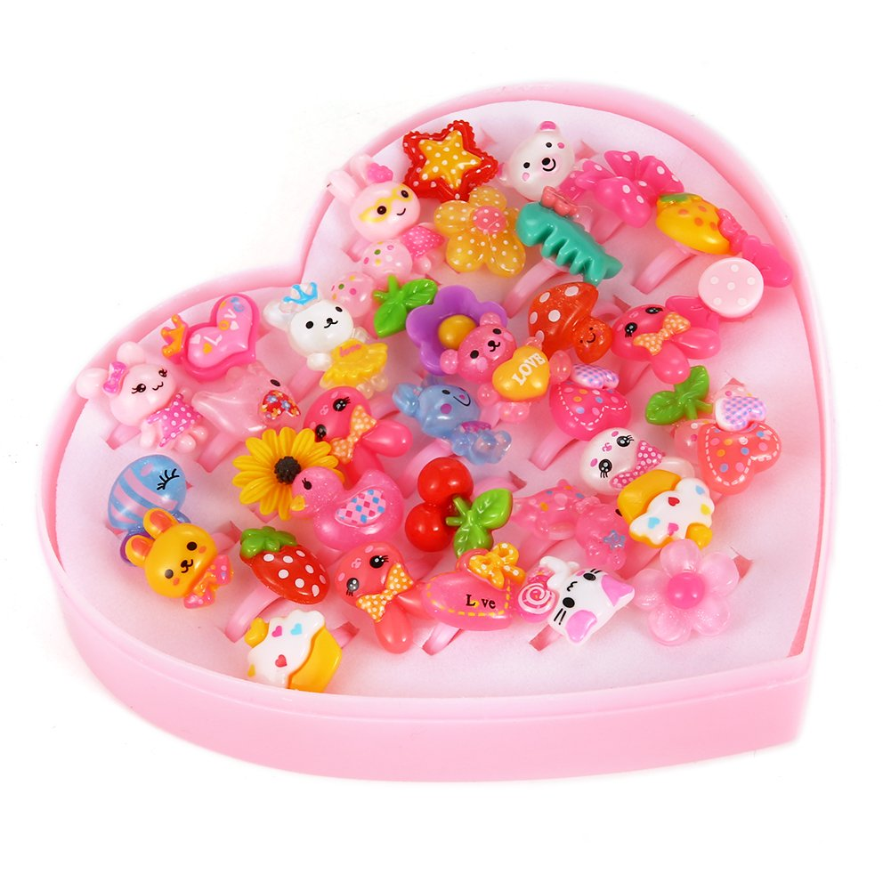 GoaPly Little Girls Princess Jewelry Rings Value Set for Kids Birthday Party Supplies, Pack of 36Pcs