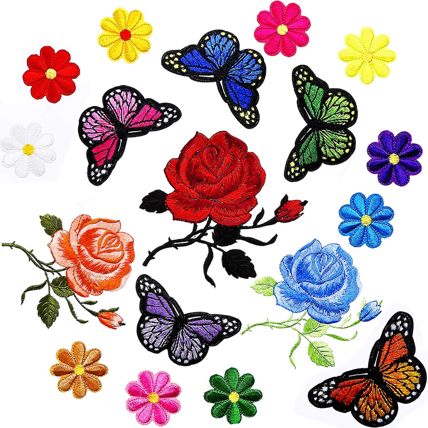 SATINIOR 20 Pieces Embroidery Applique Patches Rose Butterfly Flowers Pattern Iron on Patches for Jeans Jackets Clothing Scrapbooking Art Craft