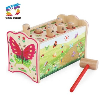 New arrival colorful baby wooden hammer toy with pegs W11G052