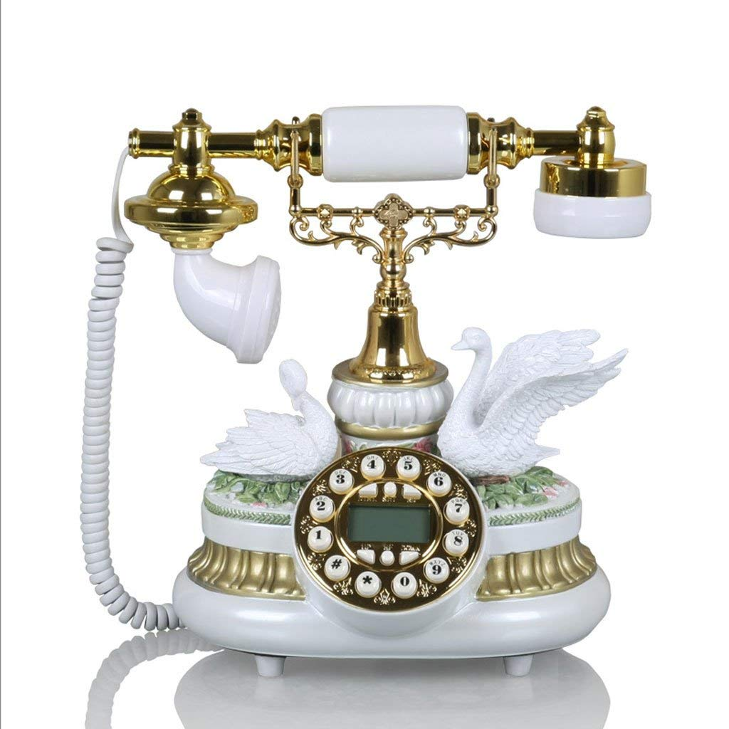 CHX Phone European Style Home Fixed Retro Creative Vintage Antique Phone Landline (Color : White, Size : L25CMH26CM)