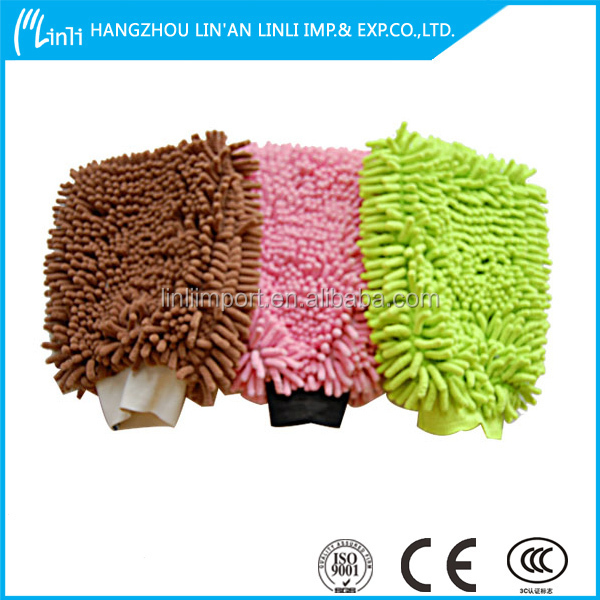 Cotton cleaning dusting gloves / cleaning glove with scouring pad