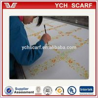 High quality hand paint raw silk scarf in hangzhou factory
