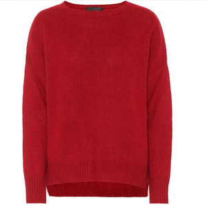 European style fluffy knitted sweater women fashion red knitwear for wholesale