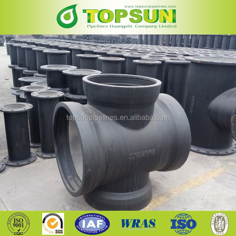 ISO2531 All Flanged Cross for ductile iron pipe/Ductile iron all flanged crossing/Double Flanged Pipe