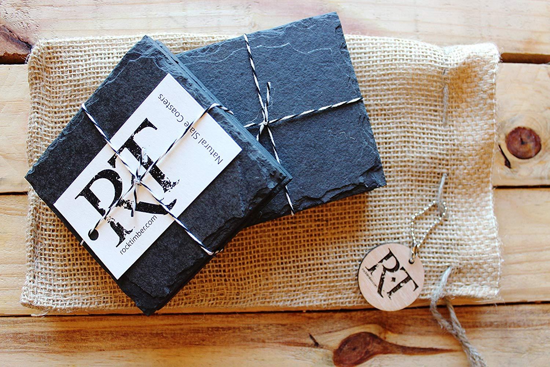 Handmade Slate Coasters in Black Slate - set of 4 - Natural Stone Craft Beer , Wine , Cocktail , Coffee and Tea Coaster