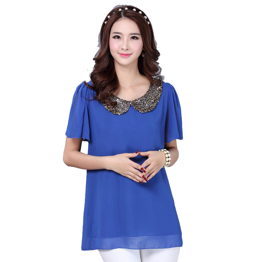 2015 Spring Summer short sleeve chiffon blouse plus size Peter pan collar sequined  Blue | Orange | black chiffon blouse