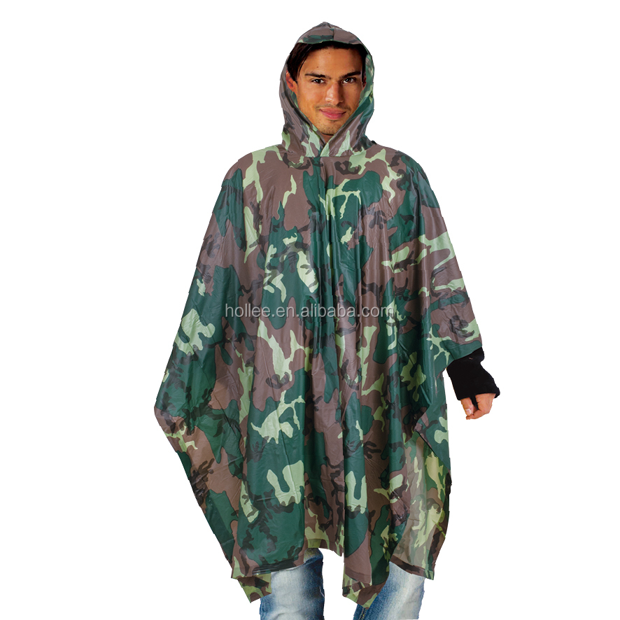 LIGHT WEIGHT PVC RAIN PONCHO CAMOUFLAGE COLOR FOR ADULT