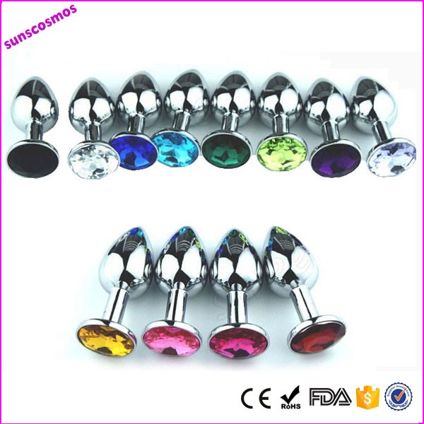2015 hot Stainless Steel Anal Plug/anal butt plug with colors Anal Sex Toys