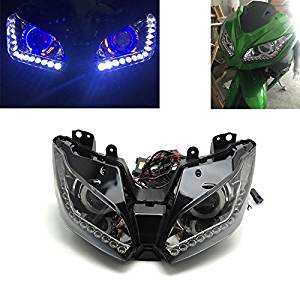 ZX-6R Headlight Assembly HID Projector LED Angel Eye Lamp Light for Kawasaki NNJA300 2013-2016, NINJA 250 2013-2016 Blue