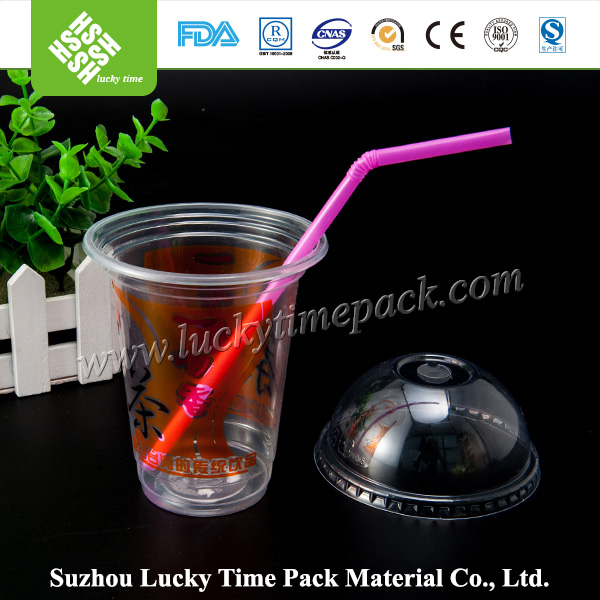 PET Material Reusable Plastic Bubble Tea Cup with Dome/Flat Lid