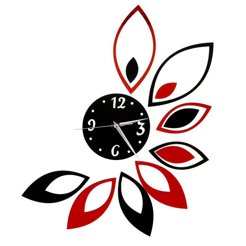 Removable Red and Black Acrylic Clock Lotus Mirror Effect Mural Wall Sticker Modern Home Room Decor Craft DIY