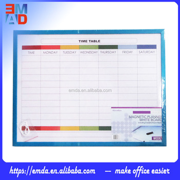 Custom Logo Printed 60x40cm Weekly Plastic Frame Magnetic Whiteboard