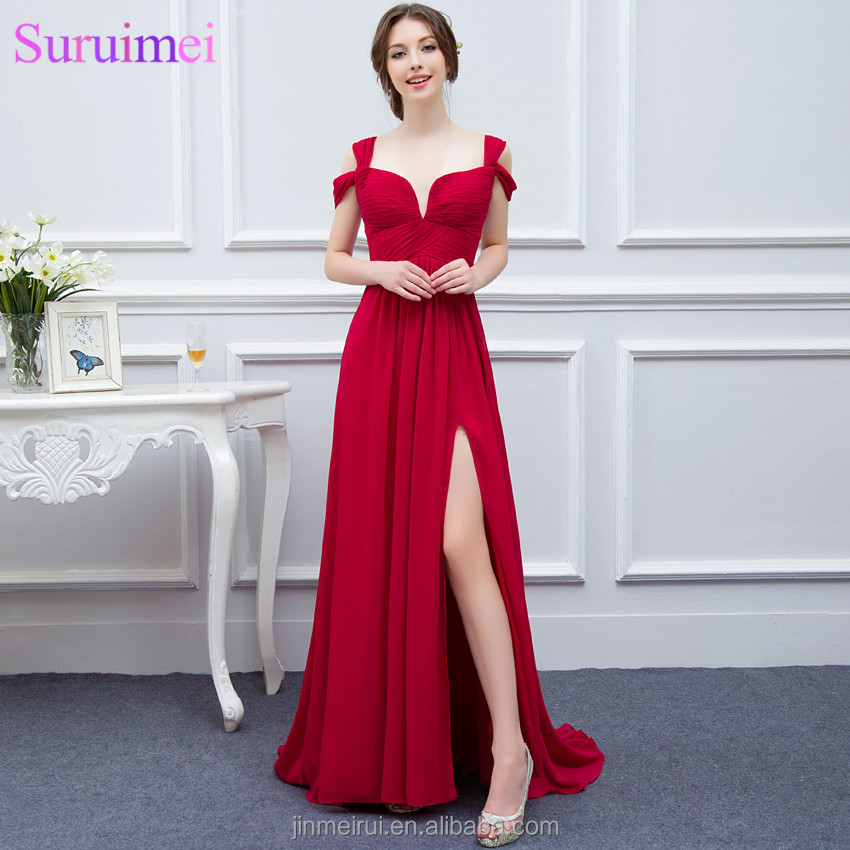 Elegance Red Girls Evening Gown Low Cut High Slit Semi Formal Long ...