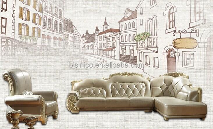 Elegant design lederen hoekbank voor de woonkamer, edele ...