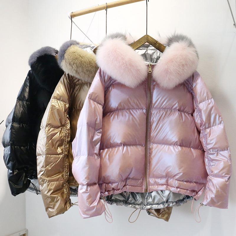 Korean Style REVERSIBLE Color Women 90% White Duck Down Jacket Light Weight Winter Puffer Coat Woman фото