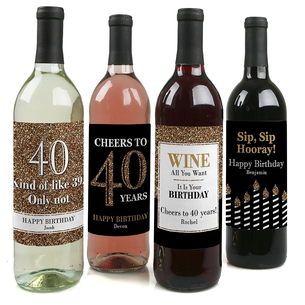 Custom Adult 40th Birthday - Gold - Personalized Birthday Party Wine Bottle Labels - Birthday Gift Idea - Set of 4