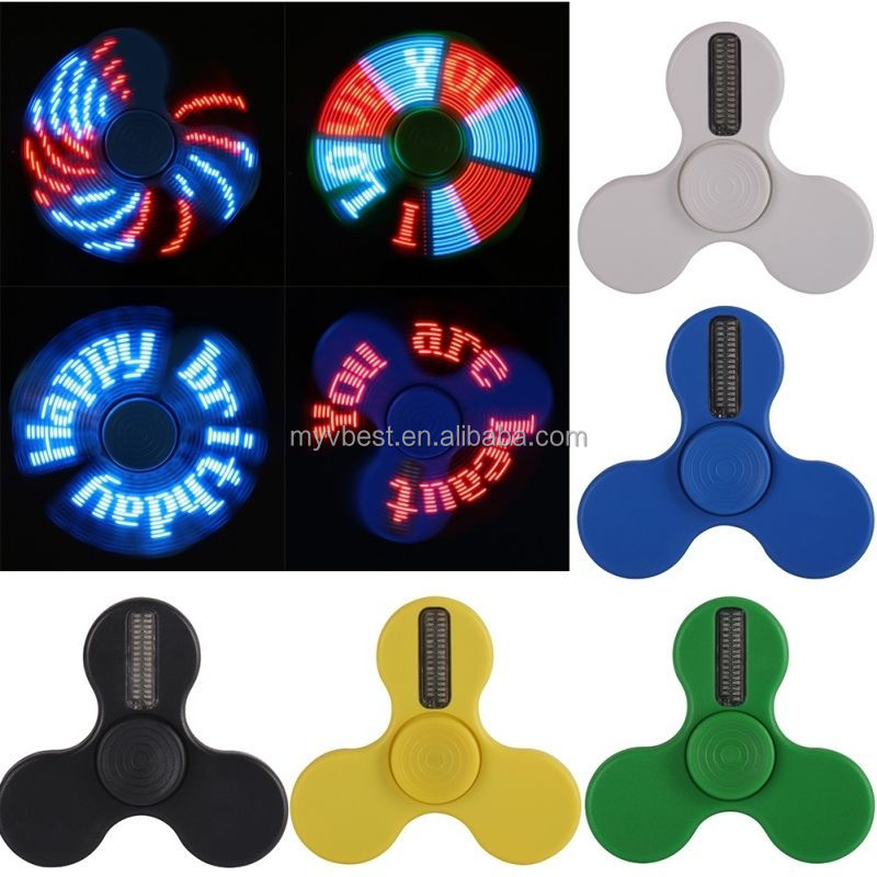 Custom LED Light Smart Tri Hand Fidget Spinner EDC Finger Gyro Toy Tri-Spinner Rechargeable USB Cable Programmable APP