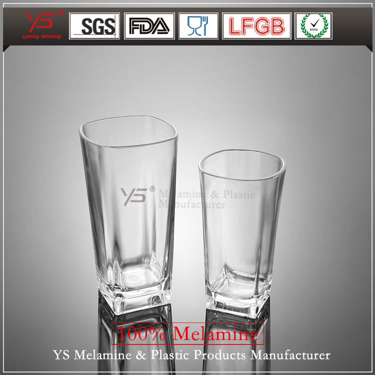 High temperature disinfection unbreakable transparent plastic cup,clear plastic cup,wholesale square hard plastic cups