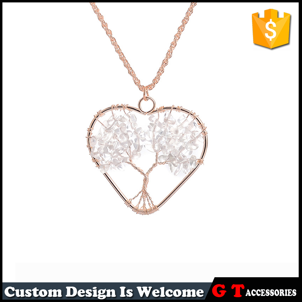 Wholesale Transparent Gravel Stone Lucky Tree Pendant Necklaces Druzy Crystal Necklace