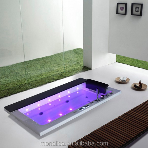 Double Acrylic Walk In Style Bath Tub Colorfull Led Hot Tub With