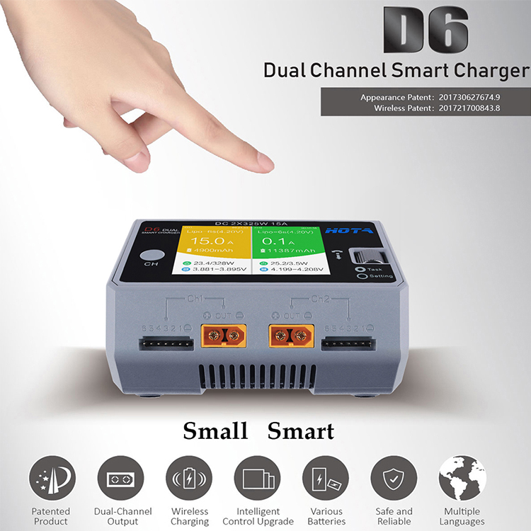 D6 Dual LiPo Battery Balance Charger 2*325W 14A DC Smart for RC drones