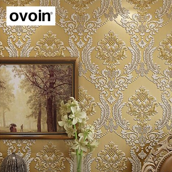 Embossed 3D Green Gold Damask Wallpaper