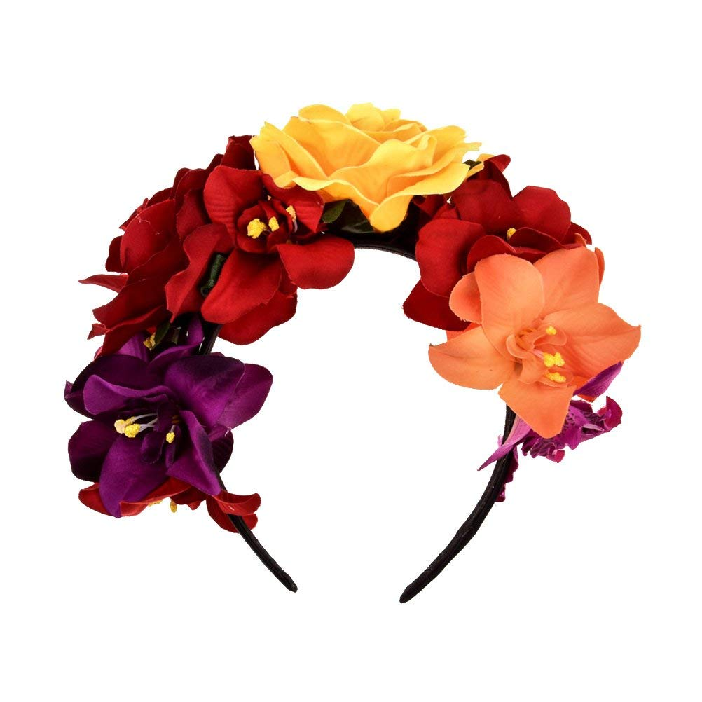 LUOEM Flower Wreath Headband Rose Flower Headband Costume Rose Flower Crown for Beach Party Vacation Photography (Colorful)