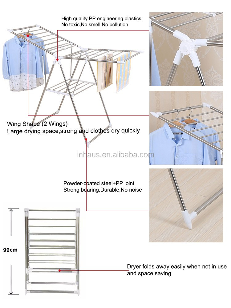 High Quality Indoor Pp Coated Steel Cloth Dryer Stand Foldable Hanging Laundry Airer Folding Table Clothes