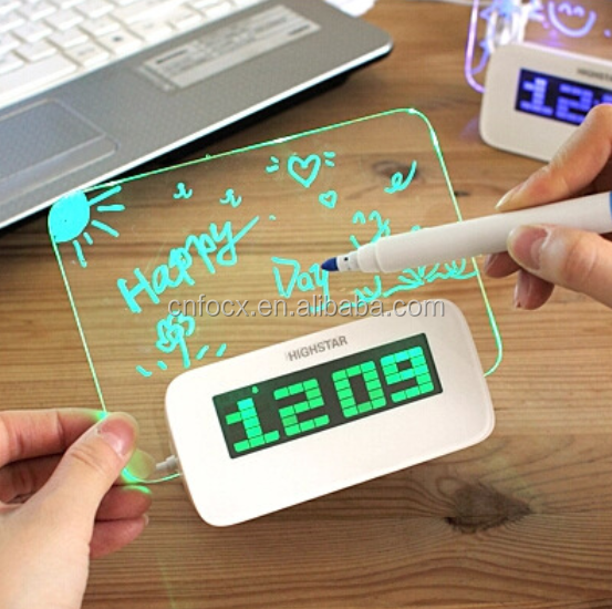 Good selling led message board alarm clock ,led writing clock ,led table clock