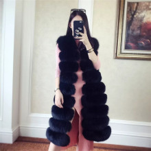 Factory wholesale ladies winter faux fox fur/rabbit /mink vest long style fur coat can customize