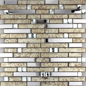 Silver Stainless Steel Wall Tiles Clear Crystal Diamond Glass Mosaic Tile Kitchen Backsplash