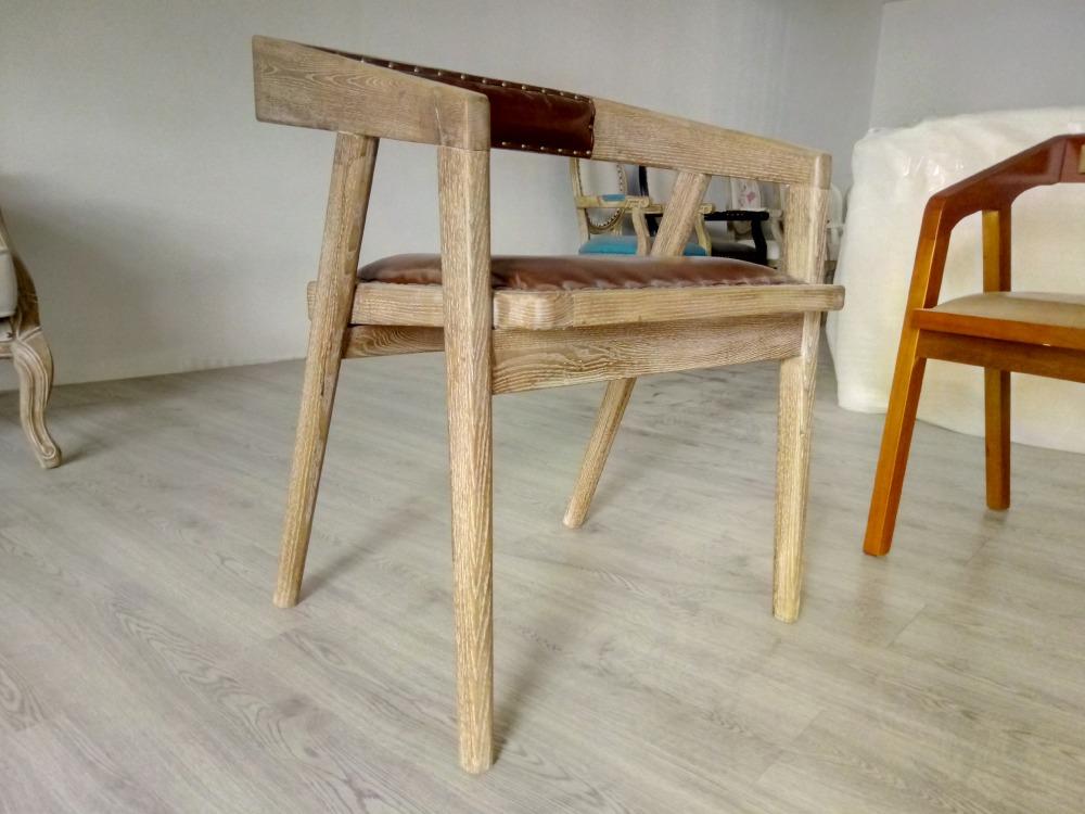 Nórdico retro madera maciza Silla de comedor Cafe bar respaldo ...