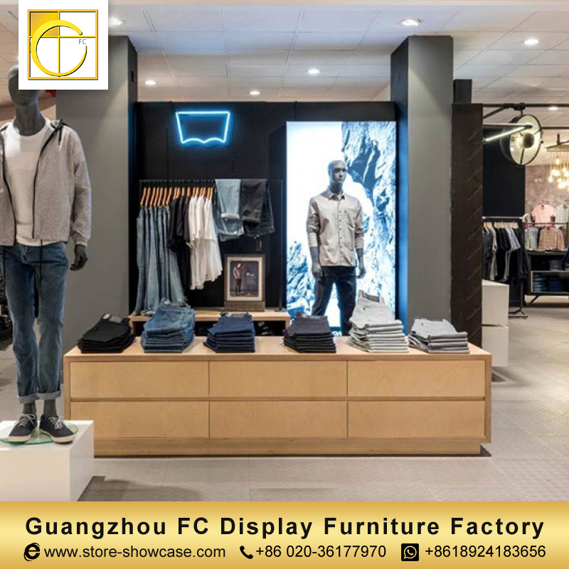 ecd74531f55 hot sale custom clothing store furniture men garment clothing shop interior  design