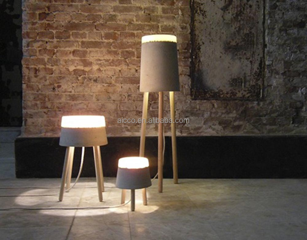 Modern Table Lamp Industrial Concrete Wood Table Lamp