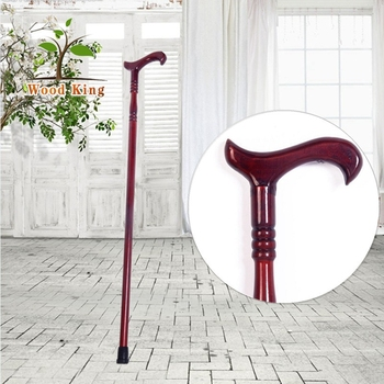 Pure Manual Carved Redwood Pointed Carvings Solid Wood Grade Crutch Cane Handle Wooden Walking Stick