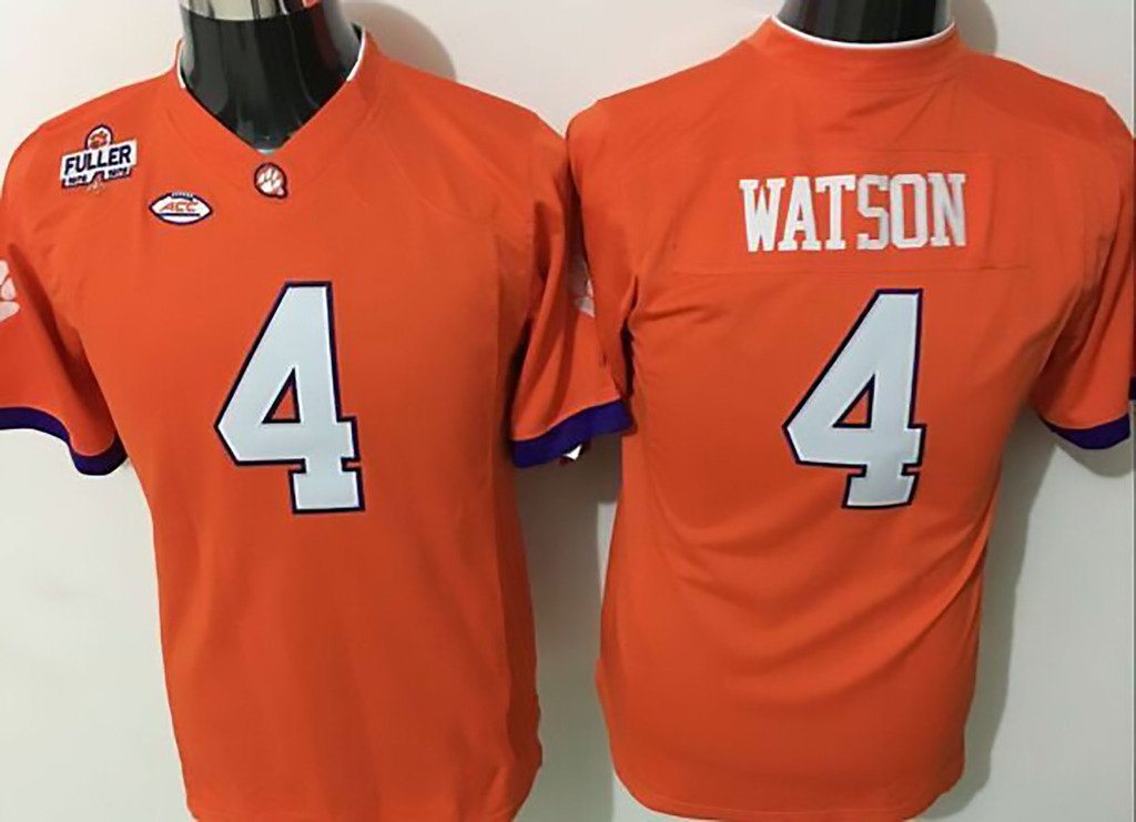 a868e2933f8 Get Quotations · NCAA Football Jersey Youth 2015 Clemson Tigers 4 orange  Youth Football Jersey