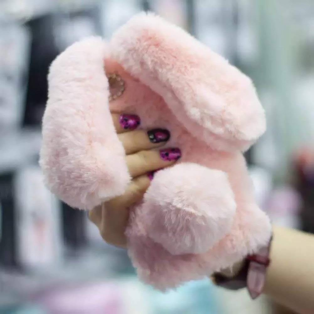 Cute Bunny Warm Winter Fur TPU Case for iPhone 7 8, Aearl Plush Rabbit Ears Furry Hairball Pompon Faux Fur Bling Crystal Rhinestone Soft Fluffy Hair Cover with Screen Protector for iPhone 8 7 - Pink