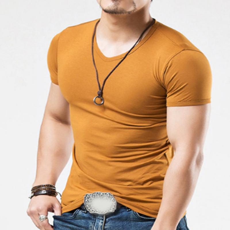 7786238fc91 Men s Tops Tees 2018 summer new cotton v neck short sleeve blank t shirt  men fashion