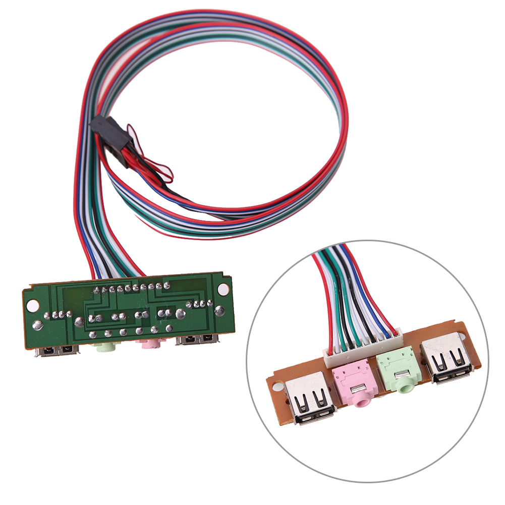 Specification: 2 USB Ports 2 Audio Jacks PCB Dimension: Approx. 68 *20*9  mm. Cable Length: Approx. 60 cm