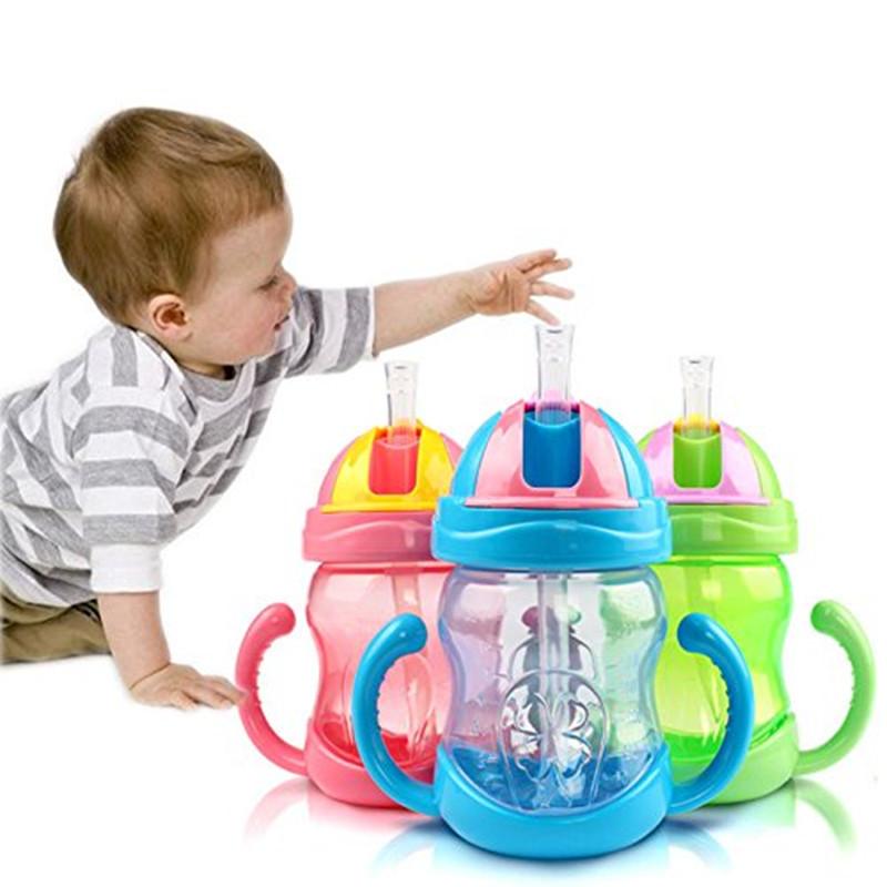 3 цветов 240 мл детские дети милые кубок дети учатся кормление питьевой воды соломой обрабатывать BPA школы питьевой бутылки