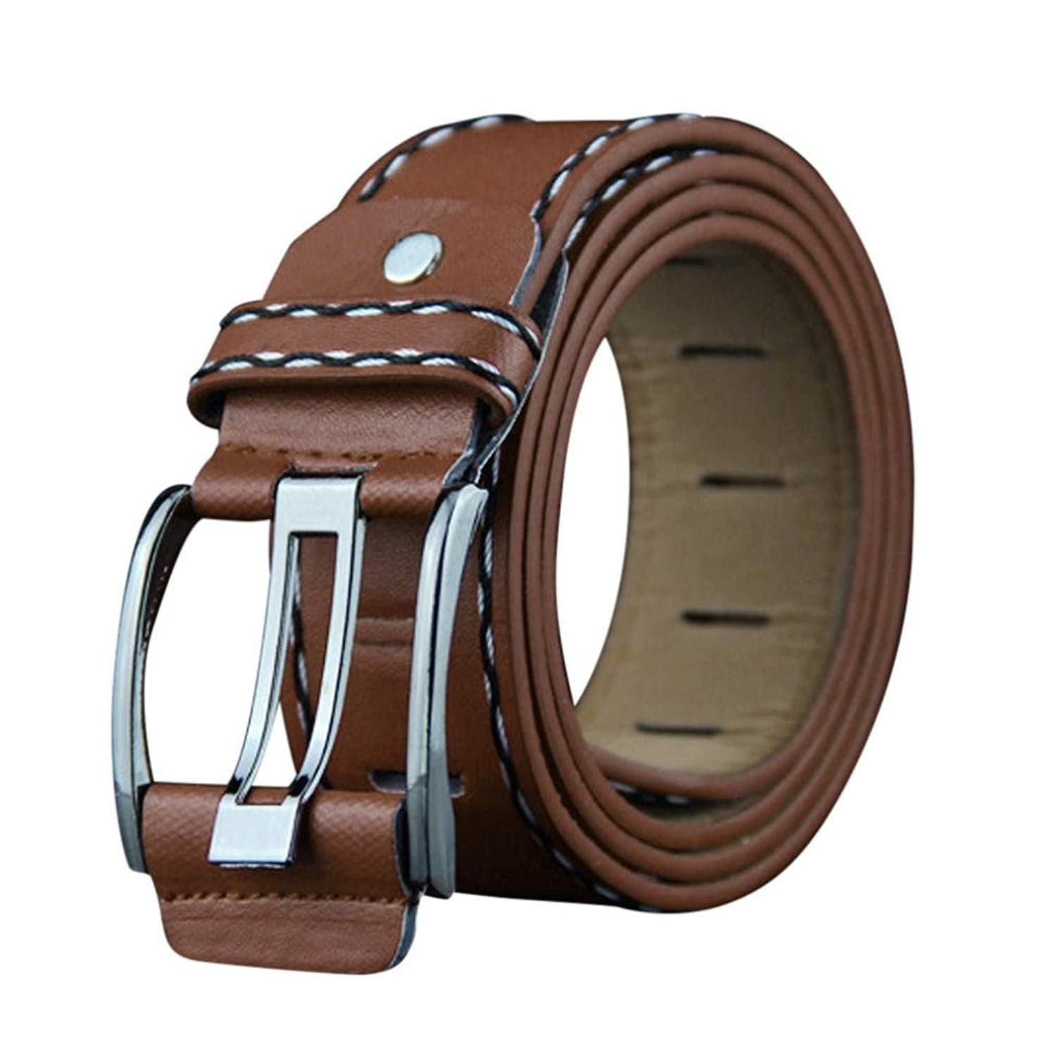 Belt for Mens,kaifongfu Mens PU Leather Smooth Girdle Buckle Waistband Leisure Belt Fashion Casual Strap for Mens Trousers